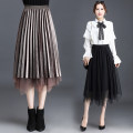 skirt Autumn of 2019 One size fits all [1'9-2'5 recommended] Black, brown Mid length dress Versatile Natural waist A-line skirt Solid color Type A 30-34 years old Qz58-6512 mesh pleated gold velvet dress More than 95% New European clothes