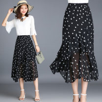skirt Summer of 2018 Dot Mid length dress Versatile High waist Irregular Dot 25-29 years old More than 95% Chiffon New European clothes