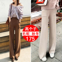 Casual pants Black (Extended Version), apricot (Extended Version), coffee (Extended Version) S,M,L,XL,2XL Winter of 2019 trousers Wide leg pants High waist commute thickening 18-24 years old 81% (inclusive) - 90% (inclusive) #9988 Wool blended fabric Korean version belt