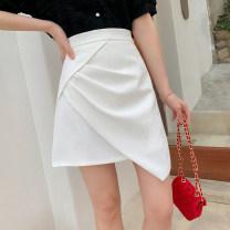 skirt Spring 2021 S,M,L,XL White, black Short skirt commute High waist A-line skirt Solid color Type A I0324079 51% (inclusive) - 70% (inclusive) polyester fiber Korean version