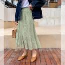 skirt Spring 2021 Average size Light green, light purple Mid length dress commute High waist A-line skirt Broken flowers Type A 51% (inclusive) - 70% (inclusive) Chiffon polyester fiber Korean version
