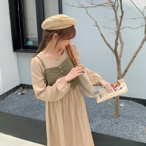 Dress Spring 2021 khaki Average size longuette Two piece set Long sleeves commute Crew neck High waist Solid color Socket A-line skirt bishop sleeve camisole Type A lady Button H0322004 51% (inclusive) - 70% (inclusive) polyester fiber