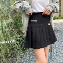skirt Spring 2021 S,M,L,XL Black, gray Short skirt commute High waist Pleated skirt Solid color Type A I0324059 51% (inclusive) - 70% (inclusive) polyester fiber