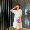 Dress Spring 2021 Black, white Average size Middle-skirt Short sleeve Crew neck Ruffle Skirt puff sleeve H0405054