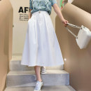 skirt Spring 2021 S,M,L Khaki, white Mid length dress commute High waist A-line skirt Solid color Type A G0324046 51% (inclusive) - 70% (inclusive) Korean version