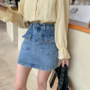 skirt Spring 2021 M,L,XL Denim blue Short skirt commute High waist Denim skirt Solid color Type A I0322011 51% (inclusive) - 70% (inclusive) Denim cotton Make old, button, pocket, zipper Korean version
