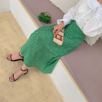 skirt Spring 2021 Average size Green, blue Mid length dress commute High waist A-line skirt Broken flowers Type A G0324013 51% (inclusive) - 70% (inclusive) Chiffon other lady