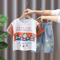 suit Chao Bao Liang Bei White, black 90cm,100cm,110cm,120cm,130cm,140cm male summer leisure time Short sleeve + pants 2 pieces Thin money No model Socket nothing Cartoon animation cotton children Expression of love Class B Cotton 85% polyester 15% Chinese Mainland Zhejiang Province Huzhou City