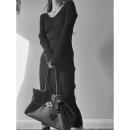 Dress Spring 2021 Black, khaki, black (stock), khaki (stock) S, M longuette singleton  Long sleeves street V-neck High waist Solid color Socket A-line skirt routine 25-29 years old Type A Splicing knitting polyester fiber Europe and America