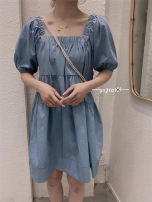 Dress Summer 2021 Light blue, dark blue Average size singleton  Long sleeves commute square neck High waist Solid color A-line skirt routine 25-29 years old Type A Britain 71% (inclusive) - 80% (inclusive) Denim cotton