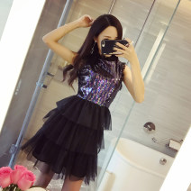 Dress / evening wear Wedding, adulthood, party, company annual meeting, performance, routine, appointment S,M,L Picture color Sweet Short skirt middle-waisted Fluffy skirt Hanging neck style Hollowing out Netting