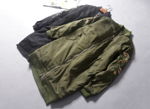 Cotton padded clothes Military green [18-12-01a], black [18-12-01a] Average size Winter of 2018 Other / other have more cash than can be accounted for Long sleeves thickening zipper street stand collar routine Straight cylinder Decor Embroidery Europe and America