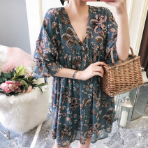 Women's large Summer 2017 , Spring 2018 Decor Large XL, large XXL, large XXL, large XXXXL, large XXXXL shirt singleton  commute easy Socket three quarter sleeve stripe V-neck routine Chloroprene , other , polyester , cotton Three dimensional cutting Lotus leaf sleeve Three dimensional decoration