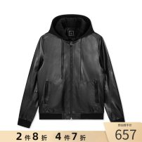 leather clothing GXG Fashion City black 165/S,170/M,175/L,180/XL,185/XXL have cash less than that is registered in the accounts Leather clothes Detachable cap Straight cylinder zipper autumn leisure time youth Sheepskin