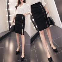 skirt Spring of 2018 S,M,L,XL,2XL Short skirt commute High waist skirt Solid color Type H 25-29 years old knitting Korean version
