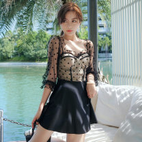 one piece  customized M,L,XL black Skirt one piece With chest pad without steel support other female Long sleeves Casual swimsuit Solid color Flocking