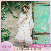 Dress Summer of 2018 Design and color (including sling) M, L Mid length dress Two piece set elbow sleeve Sweet V-neck High waist Decor Socket Cake skirt Pile sleeve Others 25-29 years old Type A Maixu Lace up, stitching, three-dimensional decoration, wave, mesh Chiffon polyester fiber Countryside