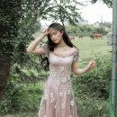 Dress Summer of 2019 Lilac S,M,L Mid length dress singleton  Short sleeve Sweet High waist Solid color Socket A-line skirt puff sleeve Others Type A Maixu Mori