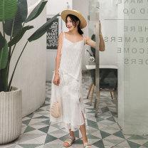 Dress Summer of 2019 white M, L Mid length dress singleton  Sleeveless commute Loose waist other Princess Dress camisole Type A Maixu lady