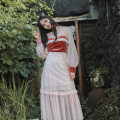 Dress Autumn of 2019 Color matching S,M,L Mid length dress singleton  Long sleeves commute Crew neck High waist other Cake skirt shirt sleeve Others Type H Maixu Retro More than 95% other polyester fiber