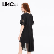 Dress Summer of 2019 black S M L XL Middle-skirt singleton  Short sleeve commute Crew neck other Others 25-29 years old Jin Yujie lady More than 95% cotton Cotton 100% Same model in shopping mall (sold online and offline)