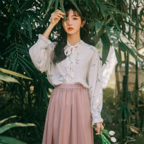 shirt Apricot floral top, skirt S,M,L Spring 2021 polyester fiber 91% (inclusive) - 95% (inclusive) Long sleeves commute Regular V-neck Single row multi button pagoda sleeve other 18-24 years old Straight cylinder literature Chiffon