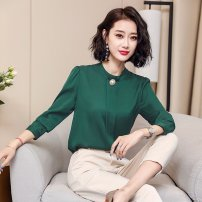 shirt M L XL 2XL Spring of 2019 silk 91% (inclusive) - 95% (inclusive) Long sleeves commute Regular Crew neck Socket Solid color 35-39 years old Self cultivation Korean version C-13 Button Mulberry silk 91.8% polyurethane elastic fiber (spandex) 8.2%