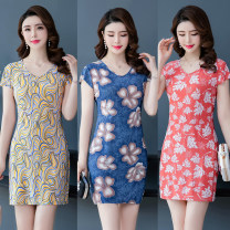 Dress Summer 2020 New color 1, new color 2, new color 3, new color 4, new color 5, new color 6, new color 7, new color 8, new color 9 L suggests 80-98 Jin, XL 98-110 Jin, 2XL 110-122 Jin, 3XL 122-135 Jin, 4XL 135-145 Jin longuette singleton  Short sleeve commute V-neck middle-waisted Decor Socket