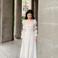 Dress Spring 2021 lattice S,M,L Mid length dress singleton  Long sleeves commute square neck High waist lattice Socket Big swing puff sleeve Others Type A Other / other court other