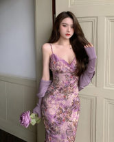 Dress Summer 2021 Dress piece, cardigan piece Average size Mid length dress singleton  Sleeveless commute V-neck High waist Decor Socket One pace skirt camisole 18-24 years old Type A Retro 30% and below other other