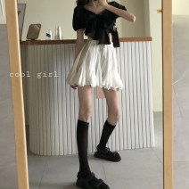 skirt Spring 2021 Average size Black top piece, white skirt piece Short skirt commute High waist High waist skirt Solid color Type A 18-24 years old 30% and below other other Korean version