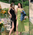 Dress Summer 2021 Green, black Average size Mid length dress singleton  Sleeveless commute V-neck High waist Solid color A-line skirt camisole 18-24 years old Type A Korean version 30% and below other other
