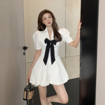 Dress Summer 2021 White, black S, M Short skirt singleton  Short sleeve commute V-neck High waist Solid color Socket puff sleeve 18-24 years old Type A Korean version bow 30% and below other other