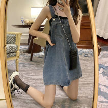 Dress Summer 2020 Denim blue Average size Short skirt singleton  Sleeveless commute square neck Loose waist other straps 18-24 years old Type A Korean version pocket 30% and below other other