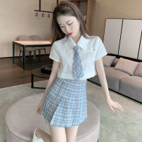 Fashion suit Summer 2020 S, M Single white shirt, single blue checked skirt 18-25 years old 30% and below