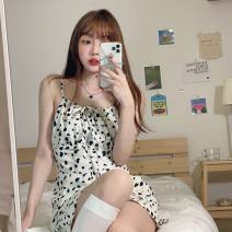 Dress Spring 2021 Black cardigan one piece, cow dress Average size Short skirt singleton  Sleeveless commute One word collar High waist Animal pattern Socket A-line skirt camisole 18-24 years old Type A Korean version Lace up, printed 30% and below other other