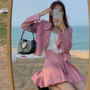Fashion suit Summer 2021 S. M, l, average size Pink suit piece, grey suit piece, pink skirt piece, grey skirt piece 18-25 years old 30% and below