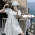 Dress Summer 2021 Dress Average size Short skirt singleton  Short sleeve commute square neck Loose waist Solid color A-line skirt puff sleeve 18-24 years old Type A Retro Fold, nail bead 30% and below other other
