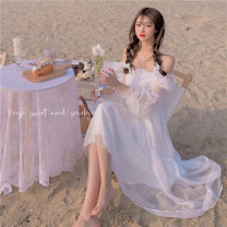 Dress Spring 2021 White fairy dress S,M,L Mid length dress singleton  Long sleeves commute One word collar High waist Solid color A-line skirt pagoda sleeve 18-24 years old Type A Retro Pleats, fungus, gauze 30% and below other other