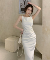 Dress Summer 2021 white S, M Mid length dress singleton  Sleeveless commute Crew neck High waist Solid color A-line skirt 18-24 years old Type A Korean version 30% and below other other