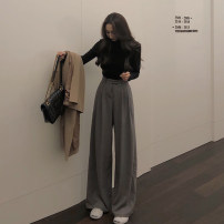Casual pants Gray, black S,M,L Autumn 2020 trousers Wide leg pants High waist Versatile routine 18-24 years old 30% and below other