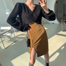 skirt Winter 2020 S. M, average size Black top piece, gray top piece, Khaki Skirt piece, white skirt piece Short skirt commute High waist A-line skirt Solid color Type A 18-24 years old 30% and below other other Korean version