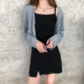 Dress Summer 2020 Grey cardigan piece, black suspender skirt piece Average size Short skirt singleton  Sleeveless commute One word collar High waist Solid color A-line skirt camisole 18-24 years old Type A Korean version 30% and below other other