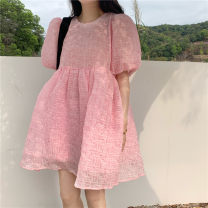 Dress Summer 2021 Pink Average size Short skirt singleton  elbow sleeve commute Crew neck High waist Solid color Socket A-line skirt puff sleeve 18-24 years old Type A Korean version fold 30% and below other other