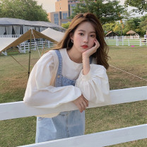 Dress Summer 2020 Apricot shirt piece, denim strap skirt piece Average size Mid length dress singleton  Sleeveless commute square neck Loose waist A-line skirt straps 18-24 years old Type A Korean version pocket 30% and below other other
