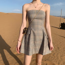Dress Summer 2020 khaki S, M Short skirt singleton  Sleeveless commute One word collar High waist Socket A-line skirt Breast wrapping 18-24 years old Type A Korean version 30% and below other
