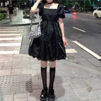 Dress Spring 2021 Black, white S,M,L Short skirt singleton  Short sleeve commute square neck High waist Solid color Socket other puff sleeve Others 18-24 years old Type A Retro Splicing, mesh 30% and below other other