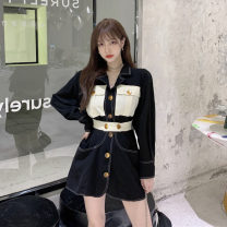 Dress Autumn 2020 Picture color S,M,L Short skirt singleton  Long sleeves commute tailored collar High waist other Single breasted A-line skirt shirt sleeve 18-24 years old Type A Korean version Pocket, button 30% and below other other