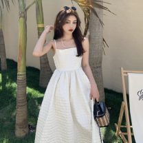 Dress Summer 2021 White, black S, M Mid length dress singleton  Sleeveless commute One word collar High waist Solid color A-line skirt camisole 18-24 years old Type A Retro fold 30% and below other other