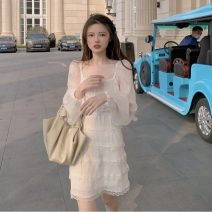Dress Summer 2021 white S, M Short skirt singleton  Long sleeves commute square neck High waist Solid color A-line skirt bishop sleeve 18-24 years old Type A Retro Bowknot, stitching, bandage, lace 30% and below other other